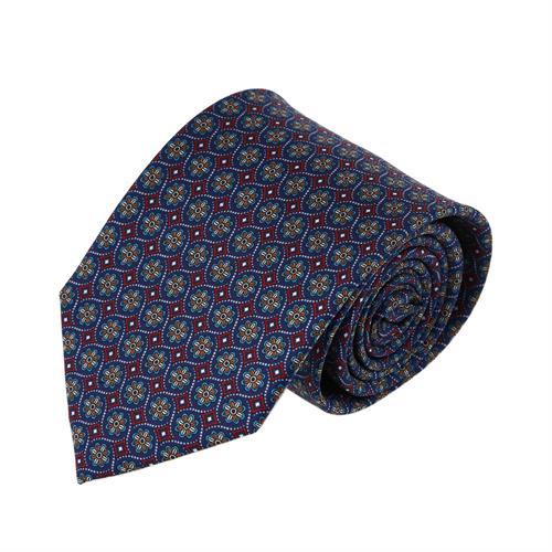 עניבה פרחים מעויינים בורדו כחול
