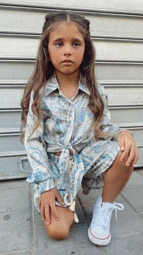 חליפה בנדנה כחולה קשירה MISS KIDS - מידות 2-16