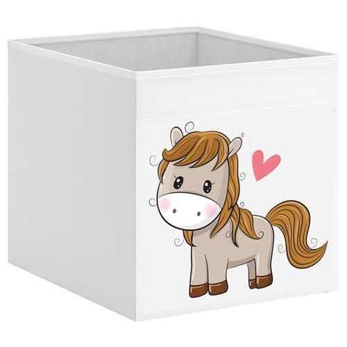 קופסת אחסון לכוורת עם הדפס-סוס