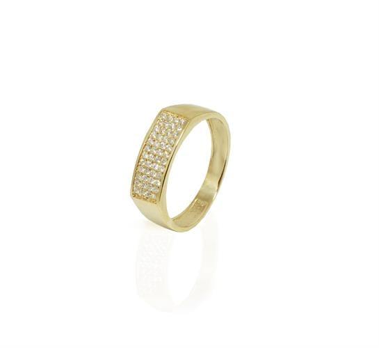 טבעת יהלומים לגבר 4 שורות משובצות יהלומים בזהב 14 קאראט