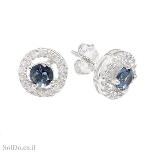 עגילים מכסף צמודים משובצים אבן זרקון כחולה מרכזית ואבני זרקון שקופות A8853   תכשיטי כסף 925