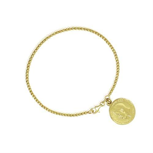 צמיד זהב כדורי עם תליון מטבע לאישה