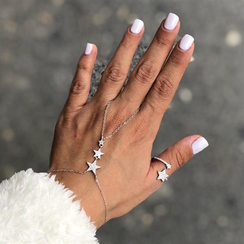 עותק של צמיד טבעת שאדי כוכבים משובצים - כסף 925