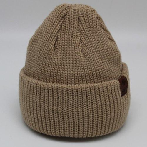 כובע צמר מבוגר סרוג חום בהיר