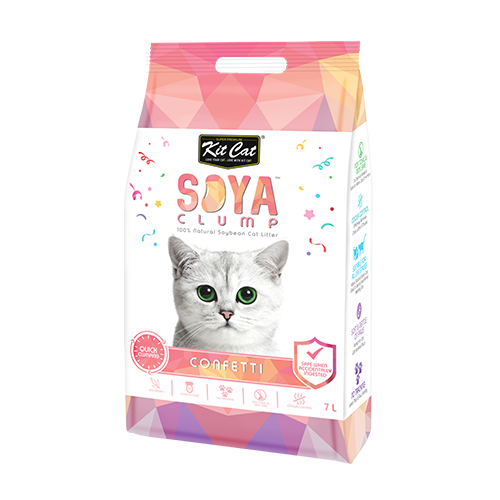 חול מתגבש לחתול על בסיס סויה בריח קונפטי 7 ליטר