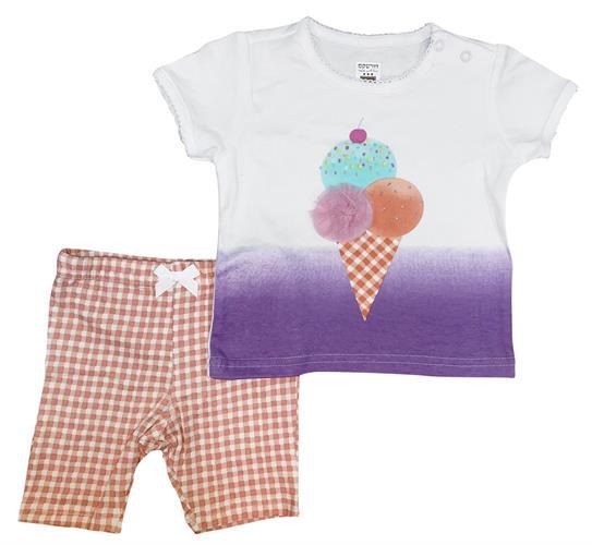 חליפה קצרה גלידה לבן-סגול