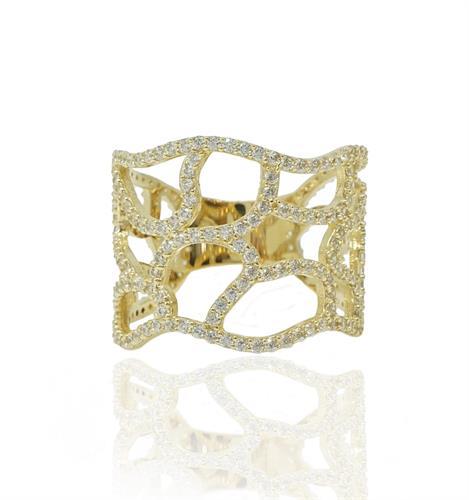 טבעת זהב מעוצבת בסגנון כוורת זהב משובצת זרקונים