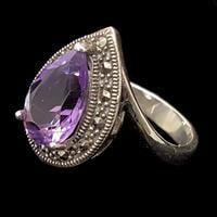 טבעת כסף משובצת מרקזטים ואבן אמטיסט סגולה RG1452 | תכשיטי כסף 925 | טבעות כסף