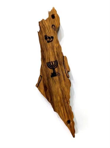 """בית מזוזה ארץ ישראל עץ אגוז אפריקאי לקלף 15 ס""""מ M171"""