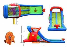 מתקן קפיצה ומים הקיץ החם הפי הופ - 9129 - Hot Summer Double Water Slide Happy Hop