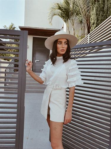 חולצת שיפון קומות - לבנה