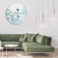 אומנות מודרנית לסלון עלים טורקיז מינימליסטי