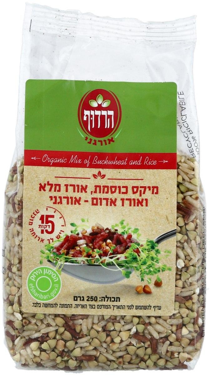 מיקס כוסמת, אורז מלא ואורז אדום אורגני הרדוף - 250 גרם