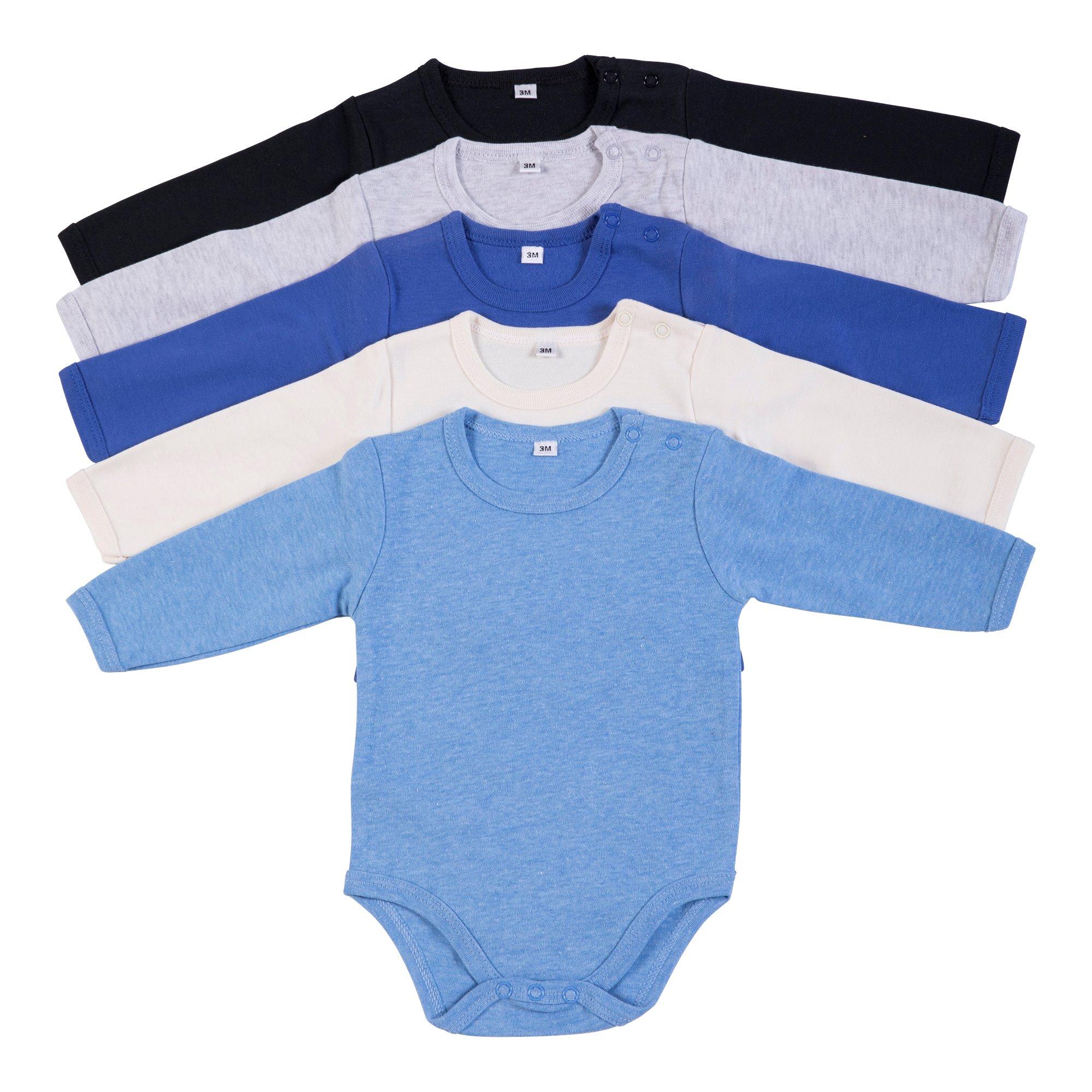 מארז 5 בגדי גוף 9100 שחור- אפור מלאנג' - כחול רויאל - שמנת - תכלת פלנל