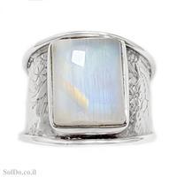טבעת רחבה מכסף משובצת אבן מונסטון  RG6117 | תכשיטי כסף 925 | טבעות כסף