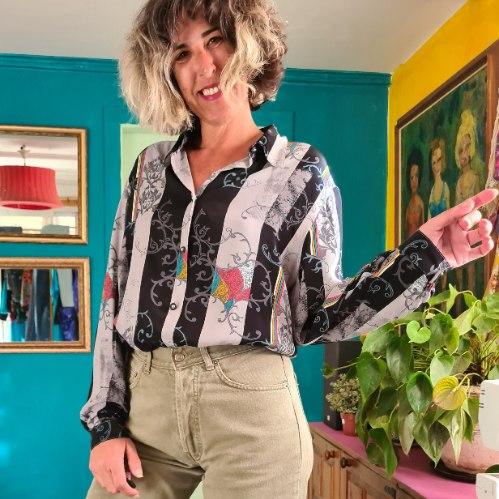 חולצת ויסקוזה צבעונית למחצה מידה L/XL