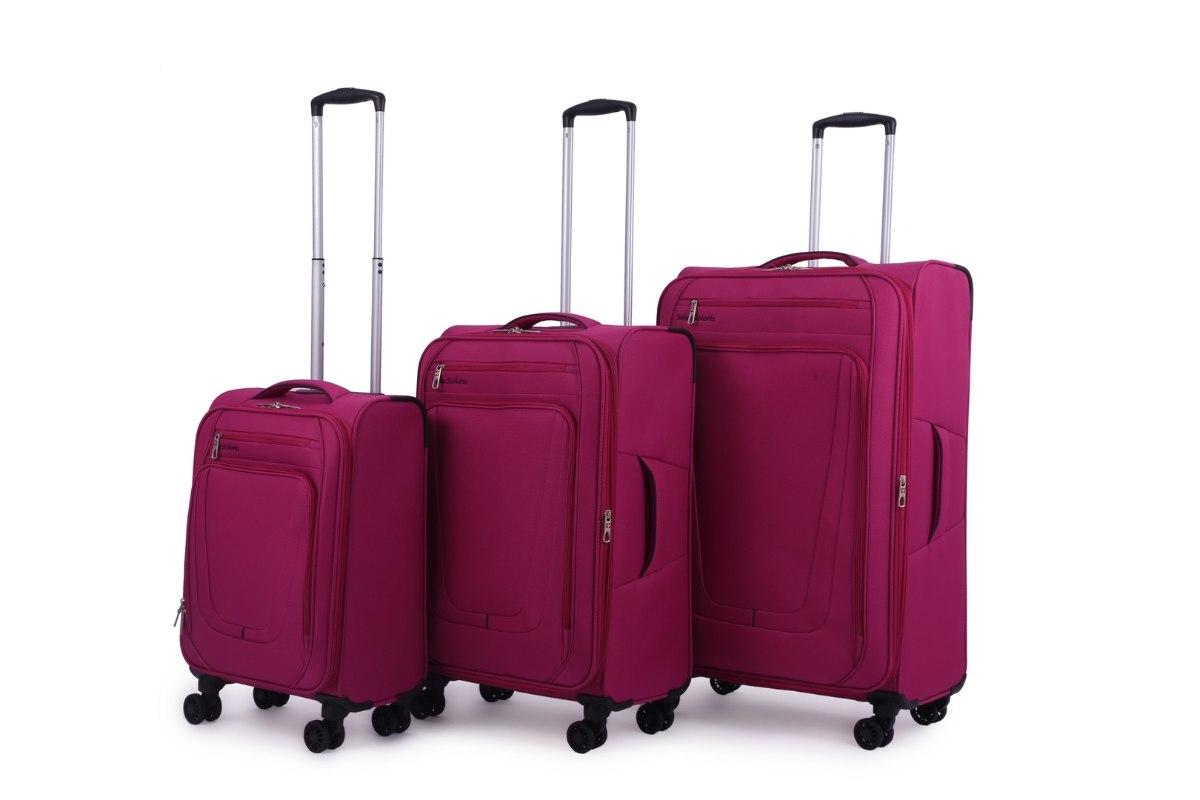 סט 3 מזוודות SWISS בד קלות וסופר איכותיות - צבע ורוד