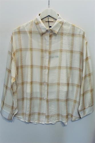 חולצת משבצות קוביין צהוב