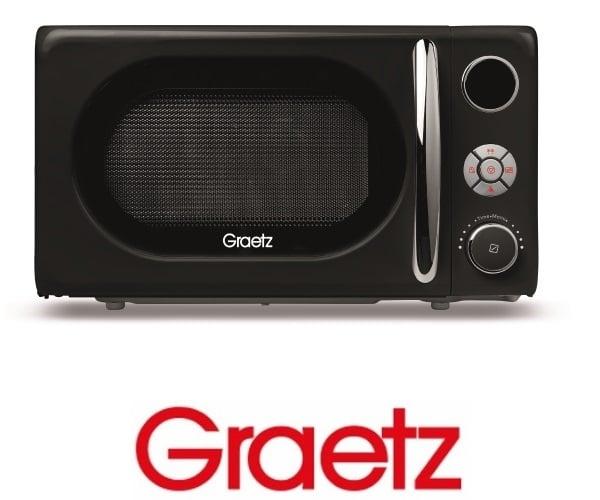 Graetz מיקרוגל דיגיטלי 20 ליטר בעיצוב רטרו גוון שחור דגם MW-457