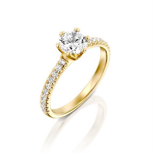 טבעת אירוסין זהב צהוב 14 קראט משובצת יהלומים CLASSIC SIX PRONG