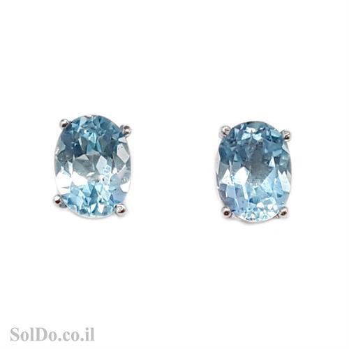 עגילי כסף צמודים משובצים אבני טופז כחולות A8617 | תכשיטי כסף 925 | עגילי כסף