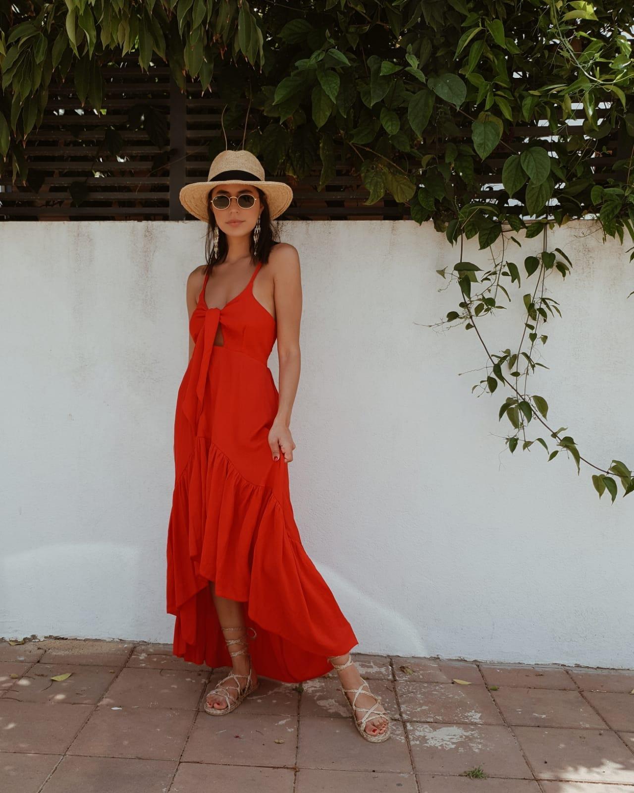 שמלת קירל קשירה - אדומה