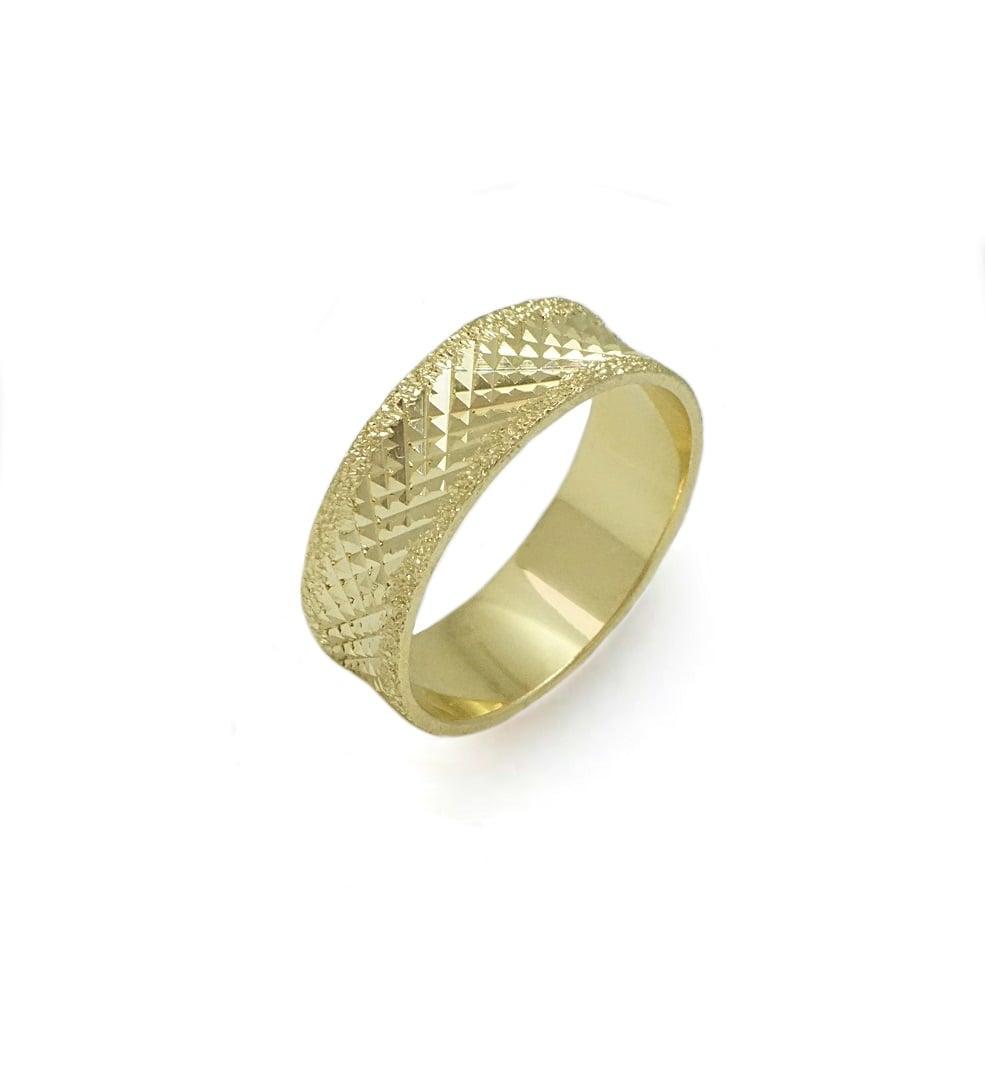 טבעת זהב נישואין 14 קרט רחבה יפהפייה