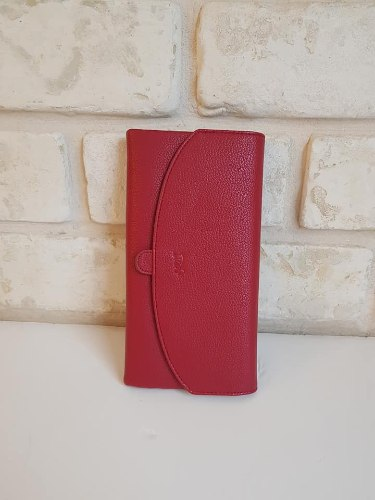 ארנק דמוי עור מאורך אדום 4065
