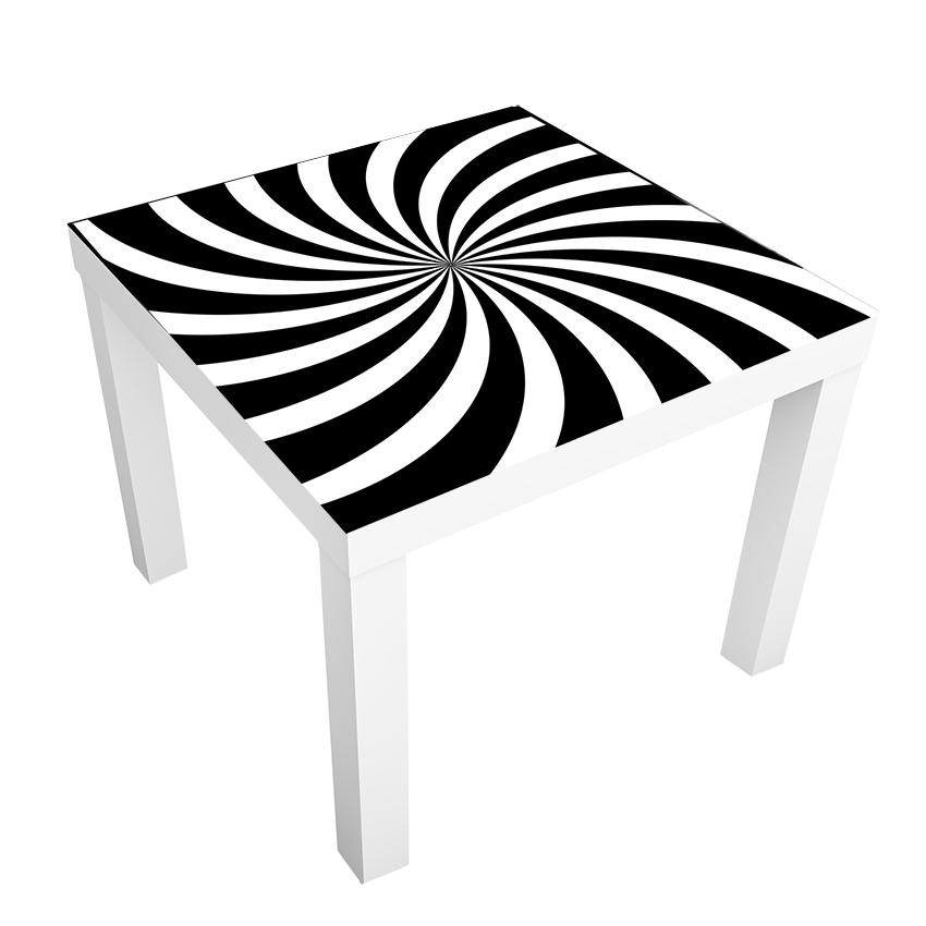 1 יח' טפט דביק מותאם לשולחן (LACK)- ספירלה שחור לבן