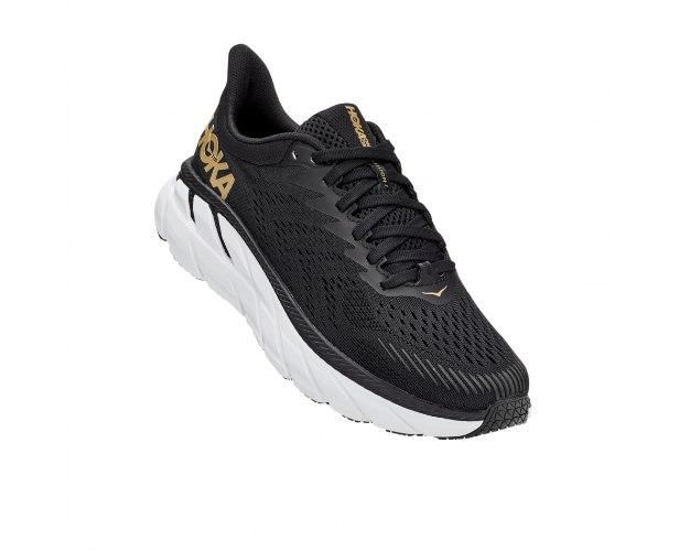 נעלי ריצה לנשים HOKA CLIFTON 7 בצבע שחור/זהב/לבן
