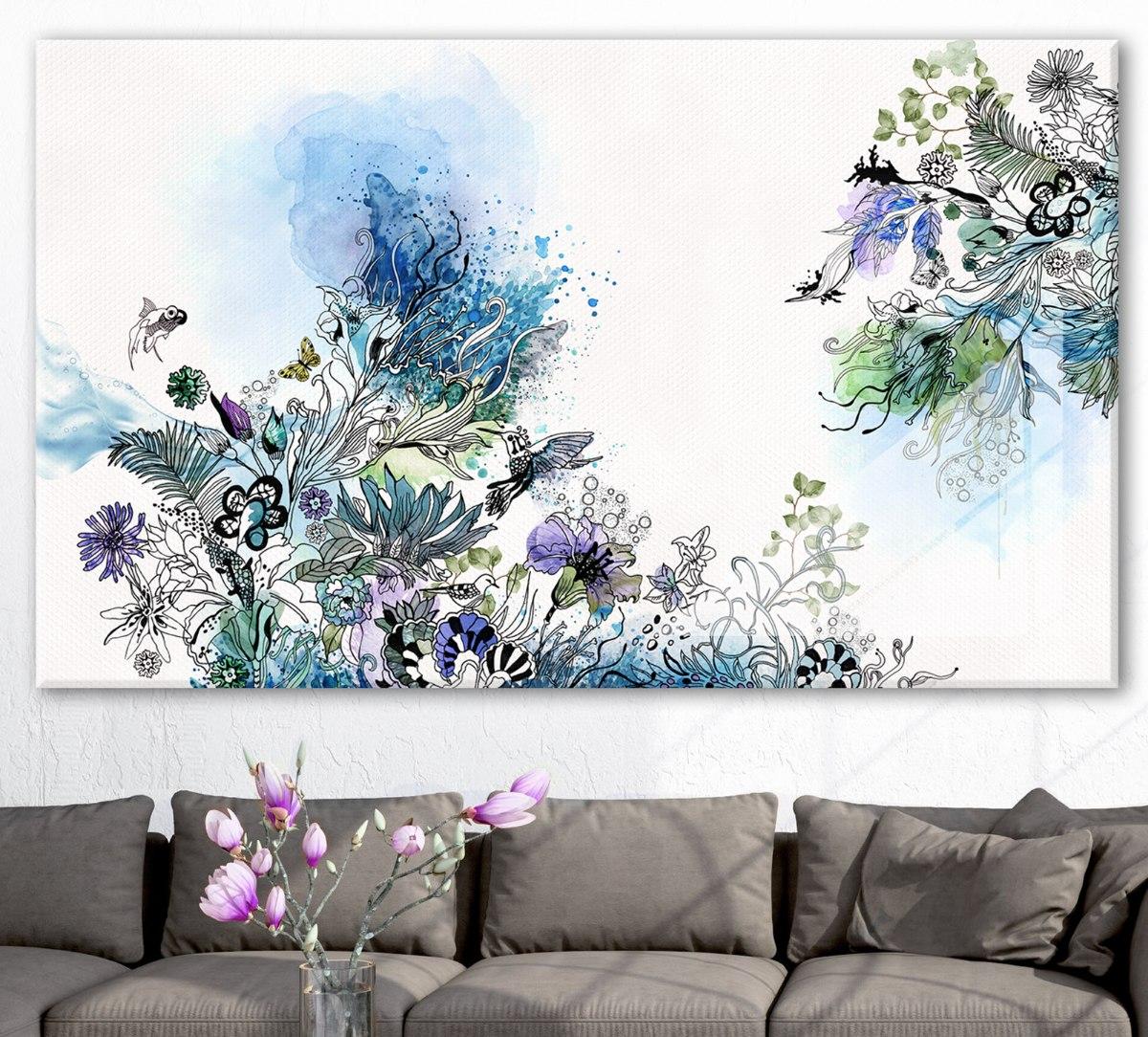 תמונה אבסטרקט לסלון כחול