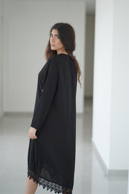 שמלת פנינים שחורה