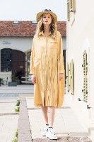 שמלת מלאני שילוב כיס צהוב