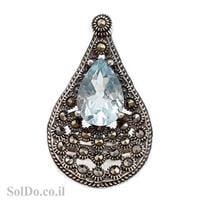 טבעת מכסף משובצת אבן טופז כחולה ומרקזטים RG5981 | תכשיטי כסף 925