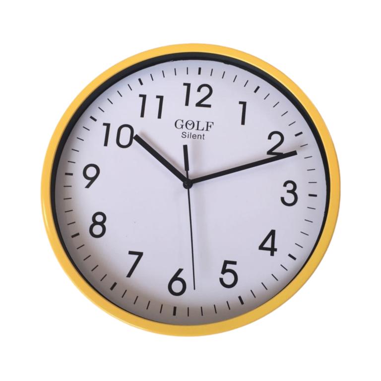 שעון קיר שקט גולף GOLF צהוב