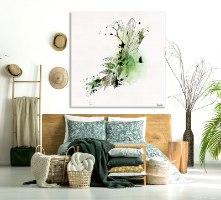 ציור קנבס אבסטרקט בחדר שינה