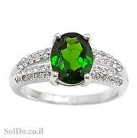 טבעת כסף משובצת אבן כרום דיופסיד וזרקונים RG6001   תכשיטי כסף 925   טבעות כסף