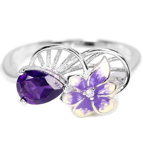 טבעת כסף משובצת אבן אמטיסט סגולה ומעוצב פרח RG5691   תכשיטי כסף 925   טבעות כסף