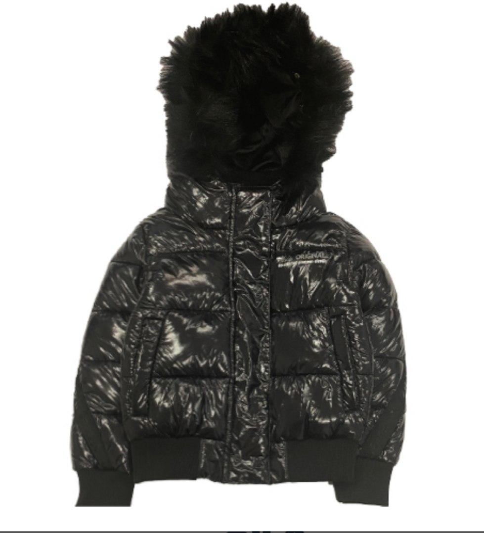 מעיל פוך שחור מבריק