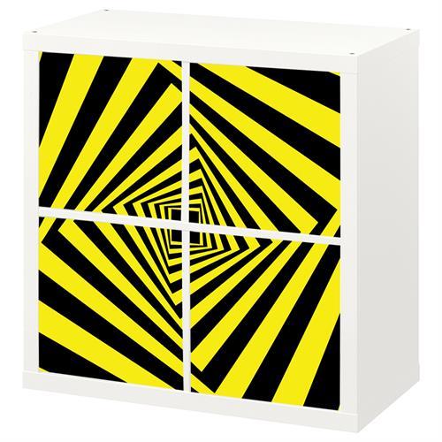 4 יח' טפט להדבקה על דלת כוורת (KALLAX)- תלת מימד צהוב ושחור