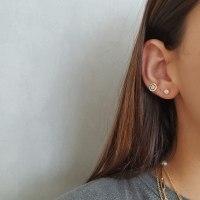 עגילי סוליטר יהלומים צמודים לאוזן חצי קראט בזהב 14 קאראט