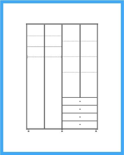 ארון 4 דלתות 4 מגירות דגם מדריד