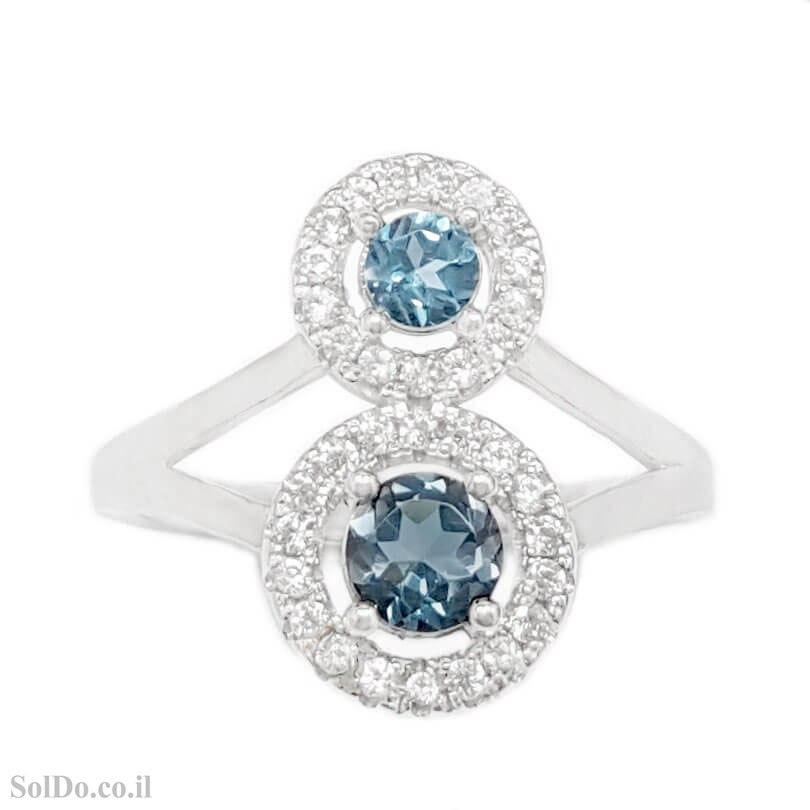 טבעת מכסף משובצת אבני בלו טופז ואבני זרקון RG6338 | תכשיטי כסף 925 | טבעות כסף
