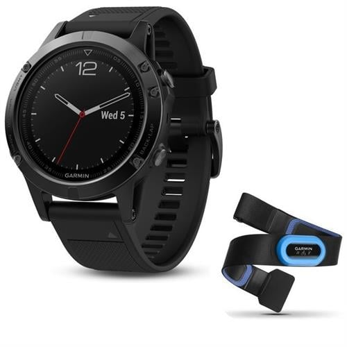 Garmin Fenix 5 Sapphire Black with black band Performer Bundle שעון דופק