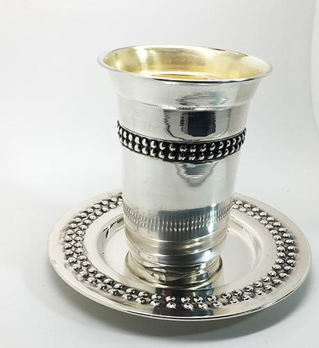 סט גביע וצלחת לקידוש כסף טהור סטרלינג 925 - SOP0816417