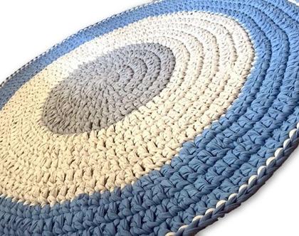 שטיח סרוג, שטיחים סרוגים, שטיחים לחדרי ילדים, שטיח לחדר של נער, עיצוב חדרים, חדרי נוער, שטיח בגוון ג'ינס, ג'ינס