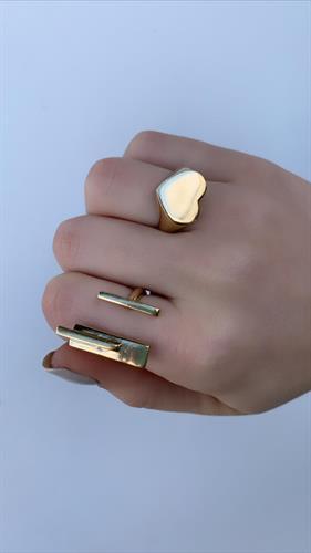 טבעת לב חותם זהב