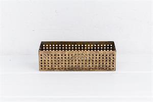 זוג של קופסה פתוחה / כלי ממתכת מלבן - זהב ושחור