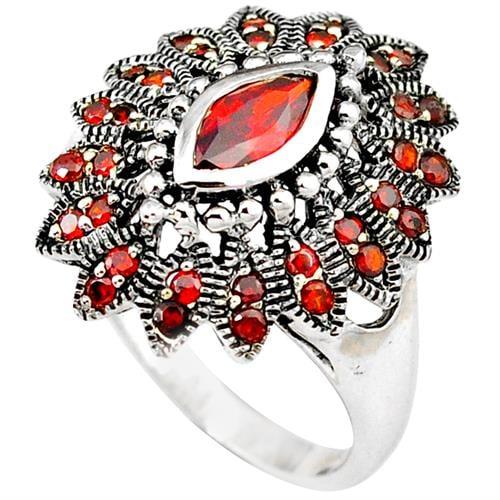 טבעת כסף משובצת גארנט אדום RG1151