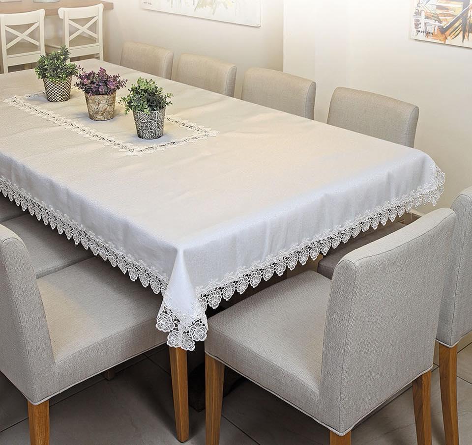 מפת שולחן 150/240 תחרה מהודרת בשמנת .ולבן